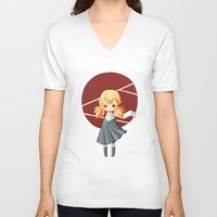tokyo V-neck T-shirts featuring Tokyo Girl by Freeminds