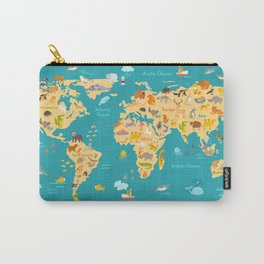 Animal map for kid. World vector poster for children, cute illustrated Carry-All Pouch