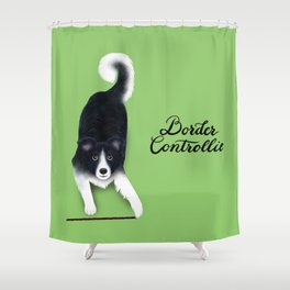 Border Controllie (Green Background) Shower Curtain