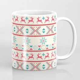 Fair Isle Beige Red #Christmas Coffee Mug