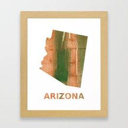 Arizona map outline Peru green streaked wash drawing Framed Art Print