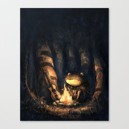 Campfire Frog Canvas Print
