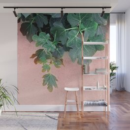 Pink Green Leaves Wall Mural