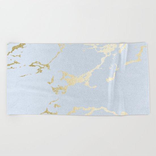 Kintsugi Ceramic Gold on Sky Blue Beach Towel