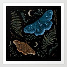 Moths and Ferns Art Print