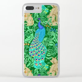 Art Nouveau Peacock Print, Cobalt Blue and Emerald Green Clear iPhone Case