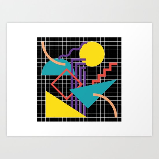 Memphis Pattern - 80s Retro Black by graphicwavedesign