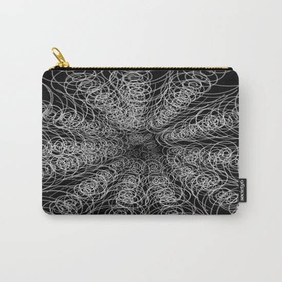 White Swirl Fractal on Black Carry-All Pouch