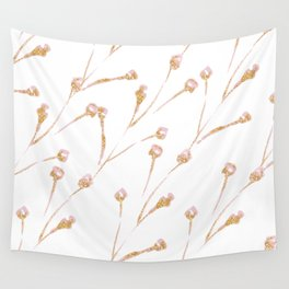 Delicate Blossom Pink + Gold Glitter Wall Tapestry