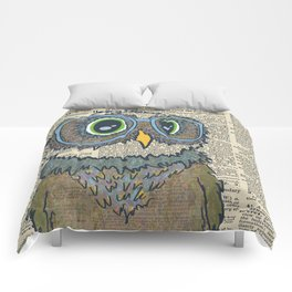 Owl wearing glasses Comforters