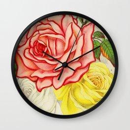 Vintage Multi Colored Rose Illustration (1886) Wall Clock