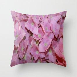 Pink Hydrangea Flowers Background Throw Pillow