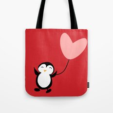 Penguin in love red Tote Bag