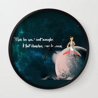 le petit prince Wall Clocks featuring Le Petit Prince by SmallWheel