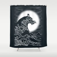 airbender Shower Curtains featuring Waterbending by Tobe Fonseca