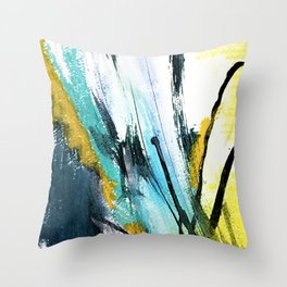 Splash: a vibrant mixed media piece in blues and yellows Throw Pillow