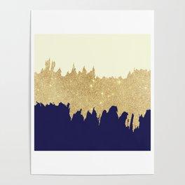 Navy blue ivory faux gold glitter brushstrokes Poster