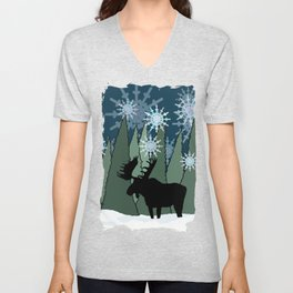 Moose in the Snowy Forest Unisex V-Neck
