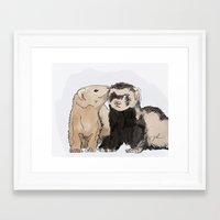 ferret Framed Art Prints featuring Ferret Kisses by Dannie Ann