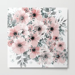 Floral Watercolor, Blush Pink and Gray, Abstract Watercolor Print  Metal Print