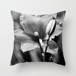 Black-and-White Daylily Throw Pillow