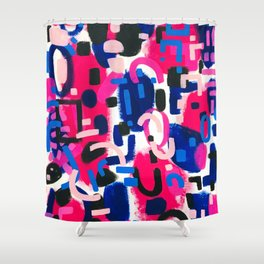Magenta Blue Abstract Acrylic Painting Kusama Primitive Shapes Shower Curtain