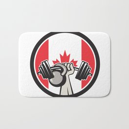 Hand Lifting Barbell Kettlebell Canada Flag Bath Mat