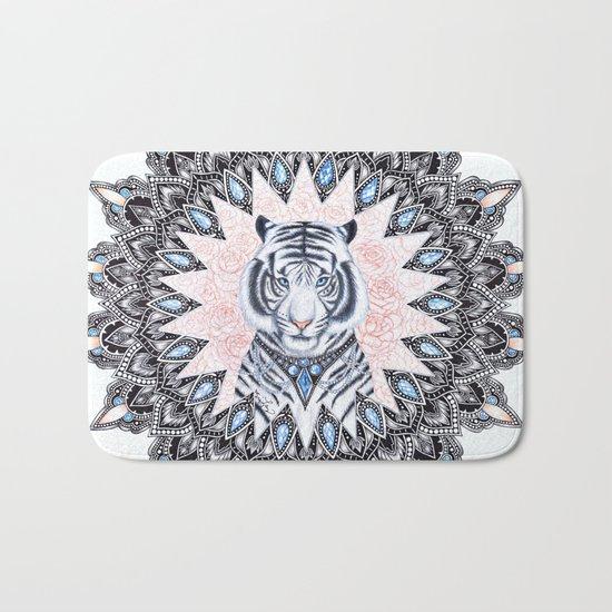 White Tiger Sapphire and Rose Mandala Bath Mat