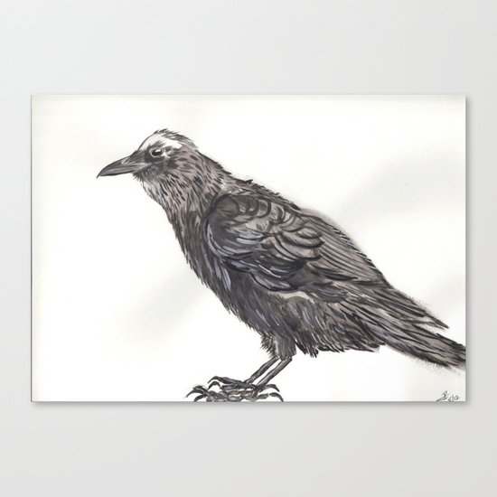 Watercolor Crow Canvas Print
