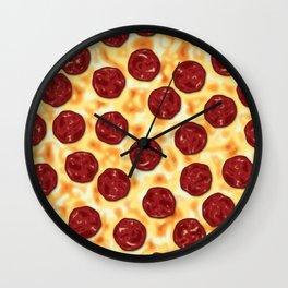Pepperoni Pizza Pattern Wall Clock