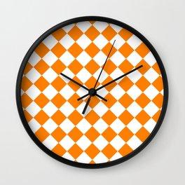 Diamonds - White and Orange Wall Clock