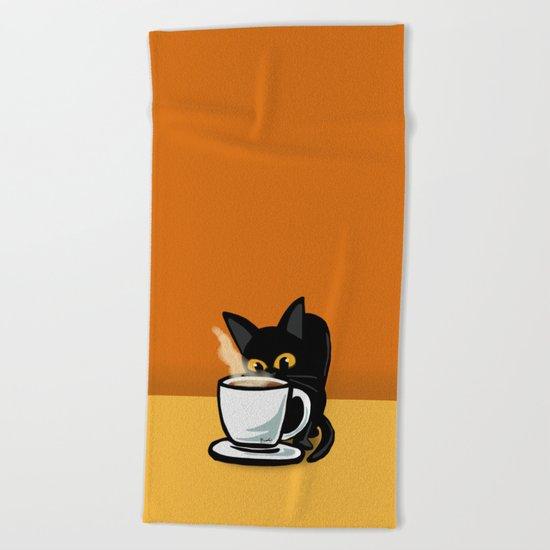 Coffee cat Beach Towel