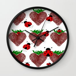 Strawberries And Ladybugs Wall Clock