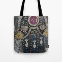 jewish Tote Bags featuring Jewish Hamsa by Debra Slonim Art & Design