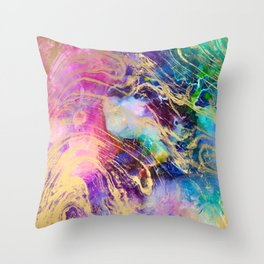 Modern gold marble on pastel pink purple watercolor nebula paint Throw Pillow