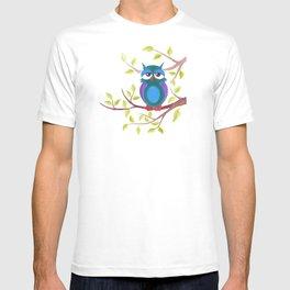 Sleepy owl cartoon T-shirt