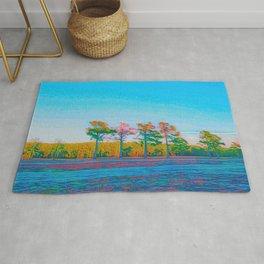 Watercolor Tree Line Tropical Paradise Rug