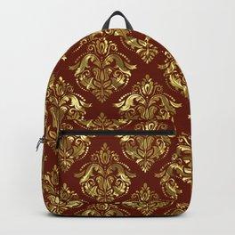 Gold and brown vintage damask pattern Backpack