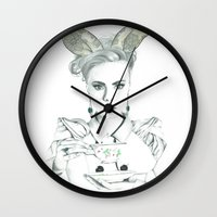cara delevingne Wall Clocks featuring Cara Delevingne by Simona Borstnar