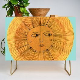 Sun Drawing Gold and Blue Credenza