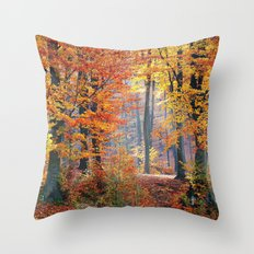 Colorful Autumn Fall Forest Throw Pillow