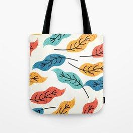 Colorful Autumn Leaves Illustration Tote Bag