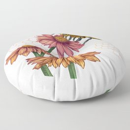 Bee and Montreal Echinacea Floor Pillow