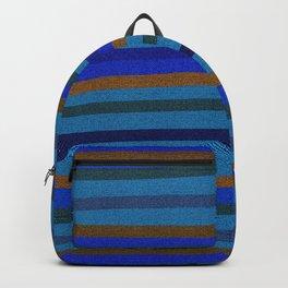 Denim Stripes in Blue, Tan, Cyan & Chocolate Backpack