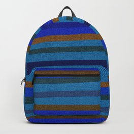 Denim Stripes in Blue, Tan, Cyan & Chocolate Backpack