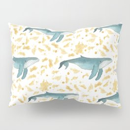 Blue Whales Swimming in Gold Pillow Sham