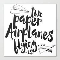 airplanes Canvas Prints featuring Paper Airplanes by Renata Bernardes