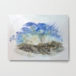 A Misty Island with Waterfalls Metal Print