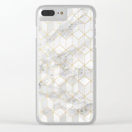 White Marble with Gold Cube Pattern Clear iPhone Case