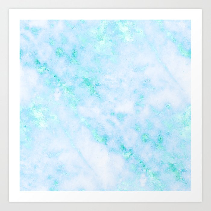 058e28575807a Blue Marble - Shimmery Turquoise Blue Sea Green Marble Metallic Art Print  by naturemagick | Society6